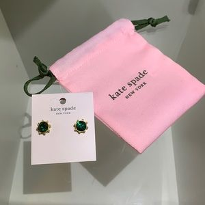 Kate Spade green/gold stud earrings with pouch
